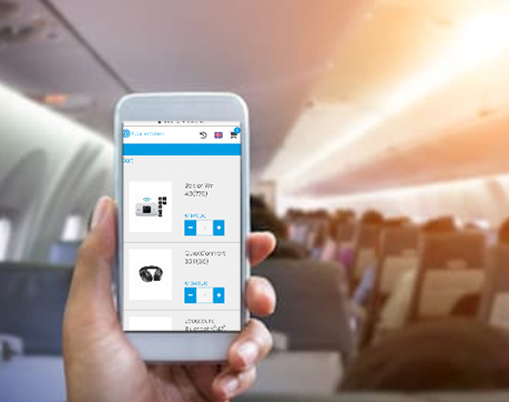Using phone to order onboard plane