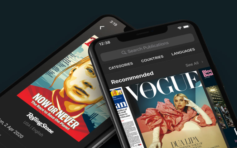 Two smartphones showing two different magazines
