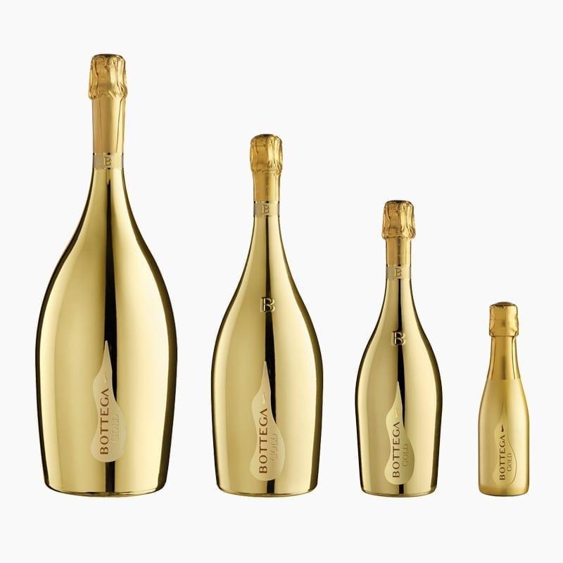 A selection of gold Bottega bottles