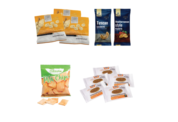 A selection of snakcs in small bags for airlines