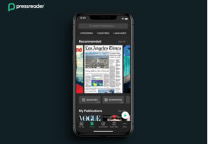 A single smarthphone showing a newspaper with PressReader