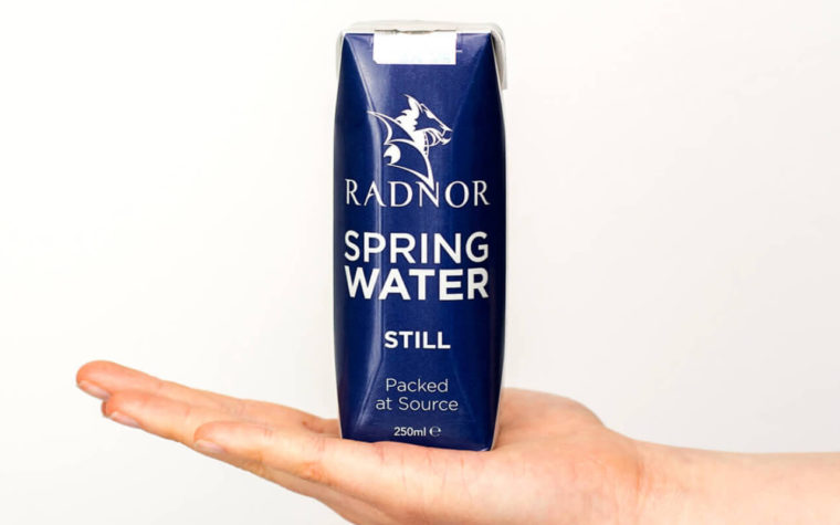 A carton of water from Radnor Hills